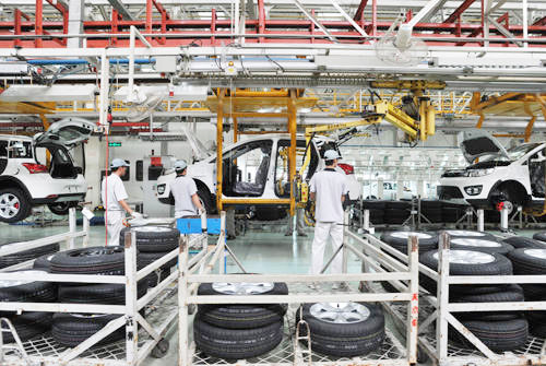 Workers at a Great Wall Motors factory