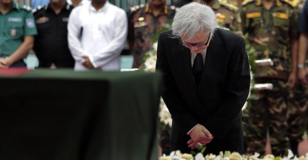Masato Watanabe, Ambassador of Japan to Bangladesh, offers his tribute to the victims of the attack on Holey Artisan Bakery, at a stadium in Dhaka, Bangladesh