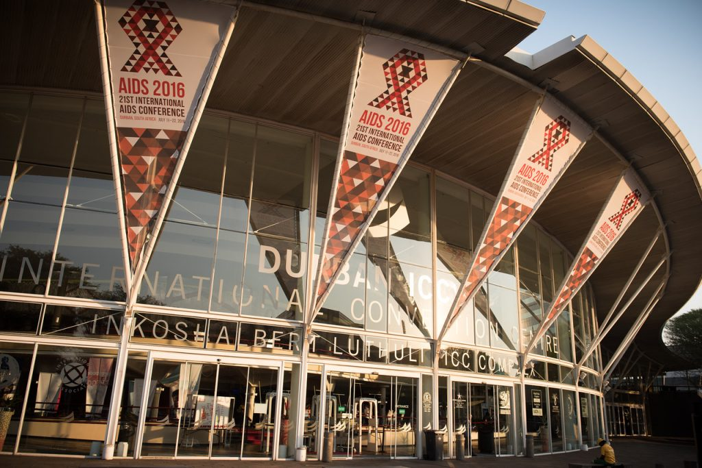 21st International AIDS Conference (AIDS 2016), Durban, South Africa. Photo shows: ICC with 2016 conference branding. Photo©International AIDS Society/Marcus Rose