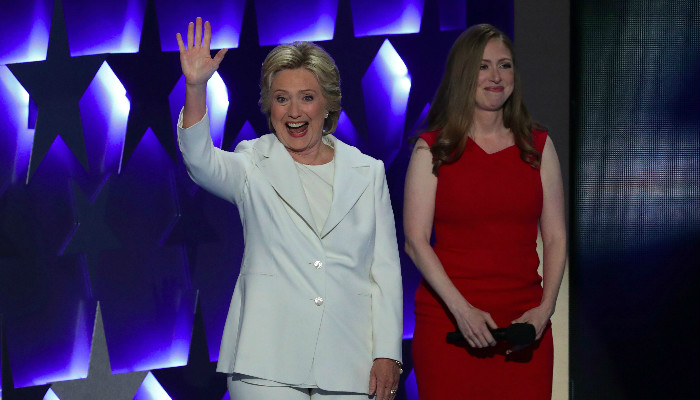 Hillary and Chelsea Clinton at the Democratic National Convention