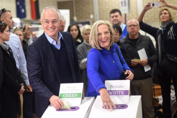 Australian Prime Minister Malcolm Turnbull (left) and his wife Lucy cast their vote