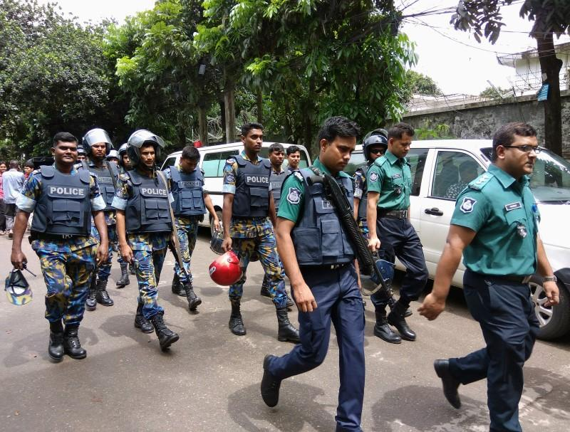 Security personnel are seen near the Holey Artisan restaurant hostage site, in Dhaka *PHOTO: REUTERS
