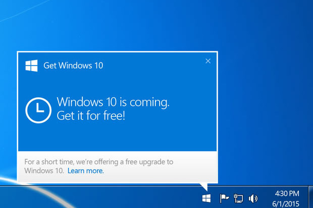 A notification window seen by previous windows version users