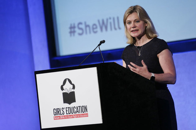 International Development Secretary Justine Greening speaking at the Girl's Education Forum, London