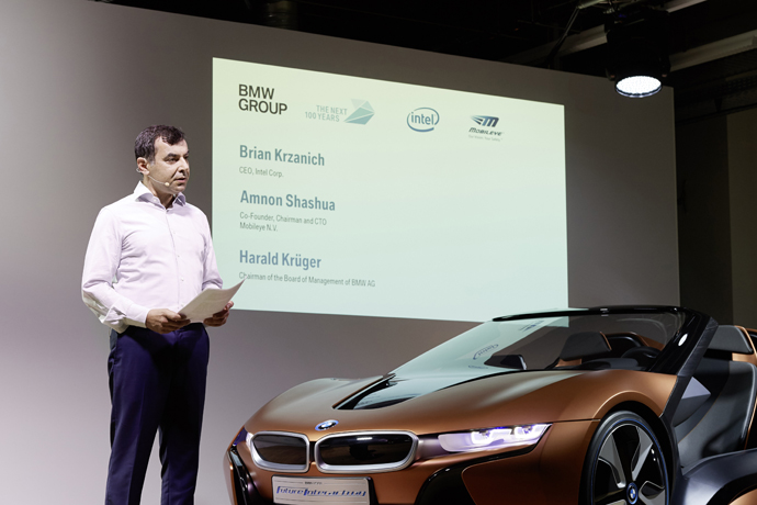 Mobileye Co-Founder, Chairman and CTO Professor Amnon Shashua speaks at a news conference *PHOTO CREDIT - BMW GROUP