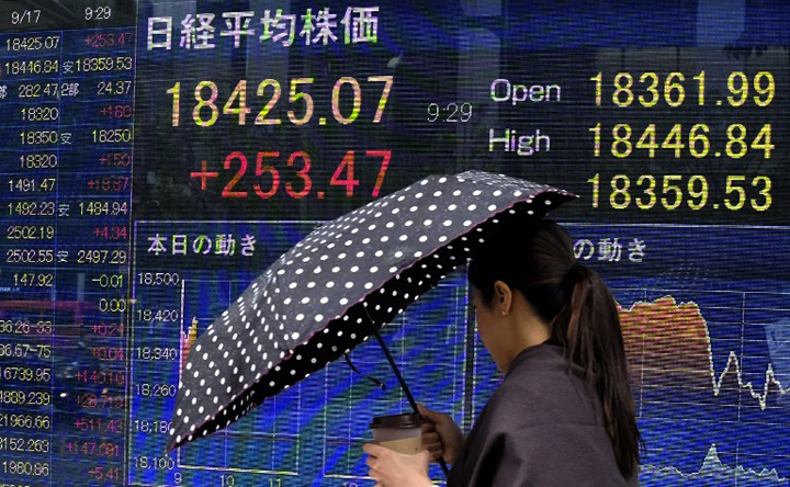 A pedestrian walks past a board showing the numbers on the Nikkei 225 index at the Tokyo Stock Exchange in Tokyo