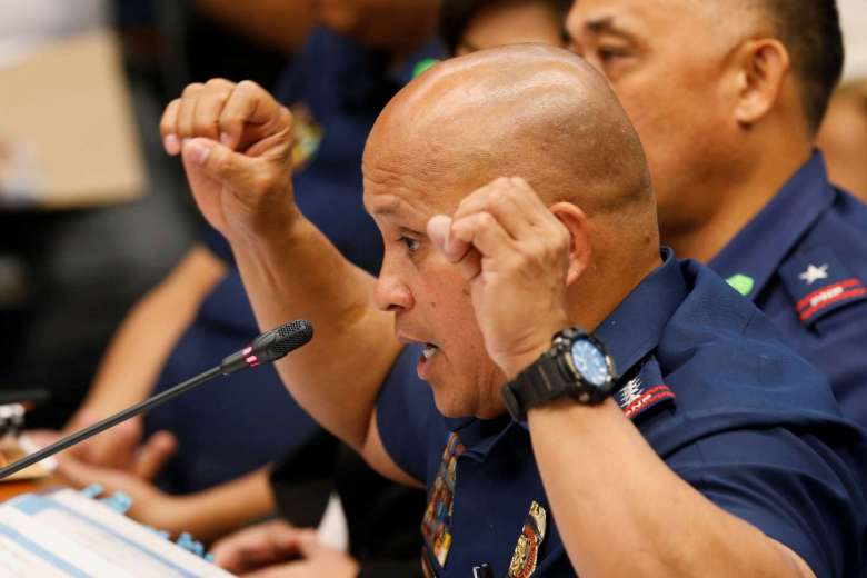 Philippine National Police chief Director-General Ronald dela Rosa testifies regarding people killed during a crackdown on illegal drugs