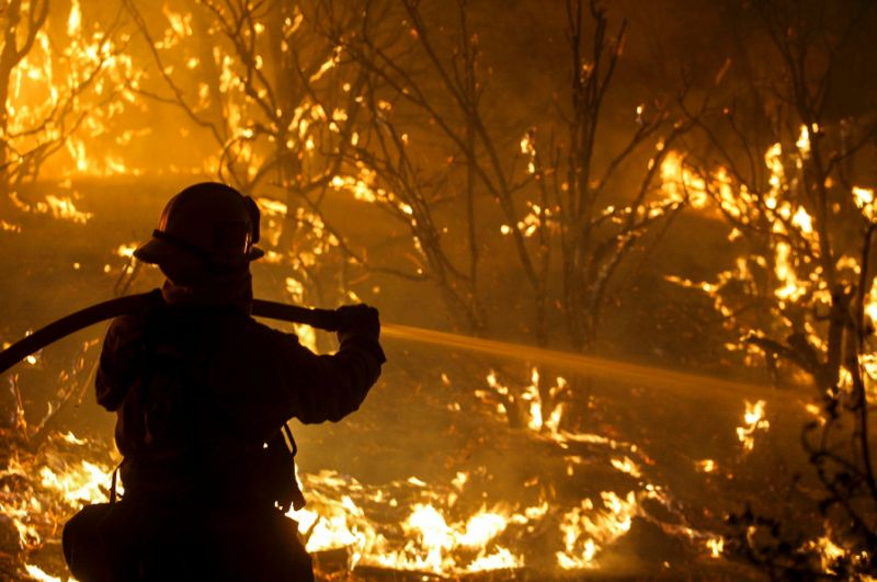 Firefighters battled on Thursday to douse a series of wildfires fueled by high winds