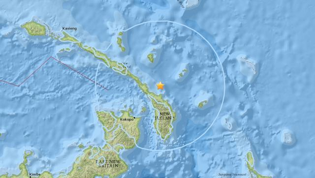 The quake hit in Papua New Guinea's eastern New Britain area, at 6.5- magnitude