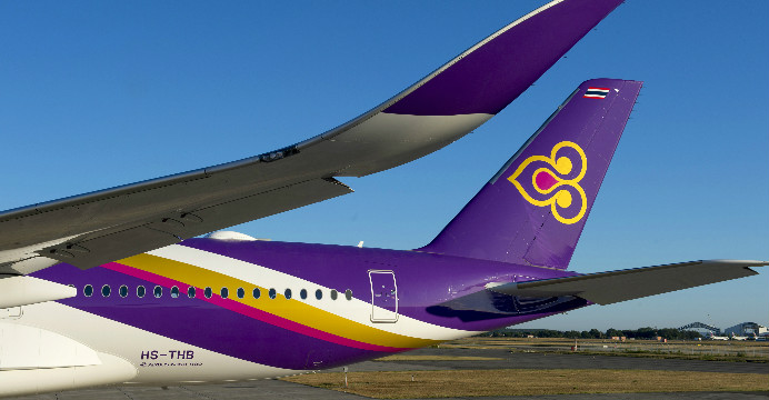 The distinctive logo of Thai Airways International (THAI) is adorned on the carrier's first A350 XWB jetliner, which was delivered on 30 August 2016