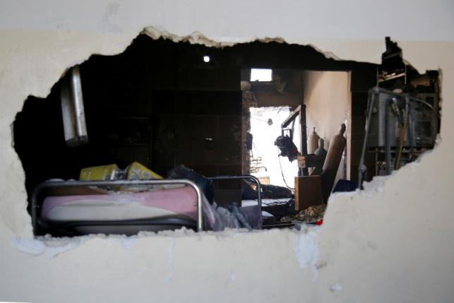 A damaged hospital room is pictured after an airstrike on a hospital in the town of Meles, western Idlib city in rebel-held Idlib province, Syria * PHOTO : REUTERS