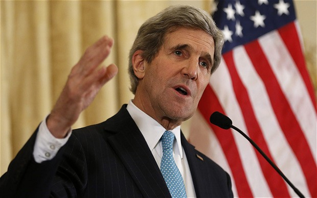 U.S. Secretary of State Kerry speaks about the Ukraine crisis after his meetings with other foreign ministers in Paris