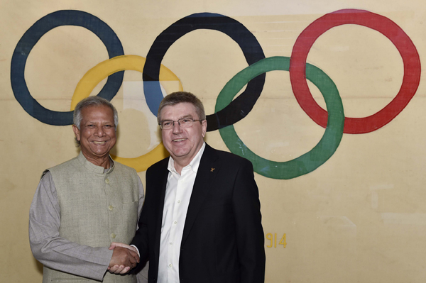 Nobel Peace Laureate Professor Muhammad Yunus with Mr Thomas Bach President of the International Olympic Committee (IOC) at its headquarters in Lausanne, Switzerland in January 2016