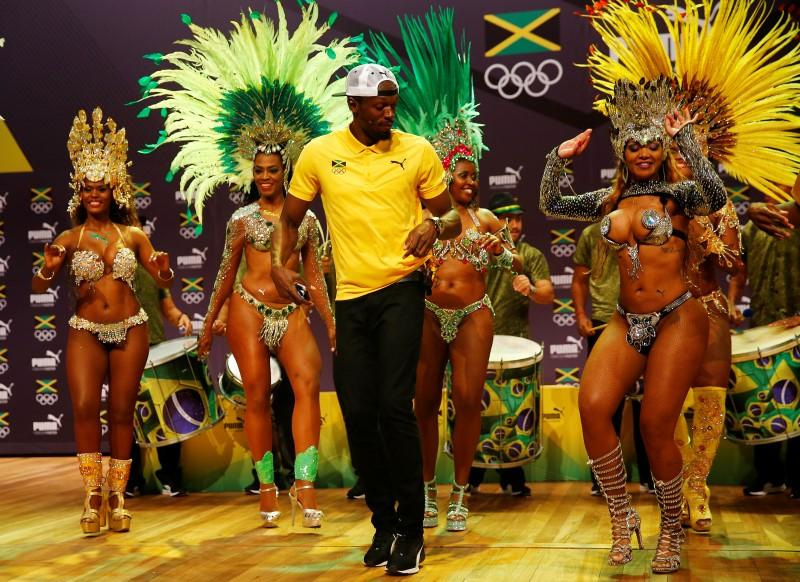 Usain Bolt at a press conference in Rio de Janeiro