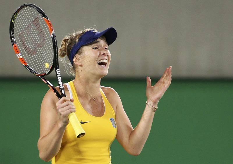 Elina Svitolina of Ukraine celebrates after winning her match against Serena Williams. *PHOTO:REUTERS