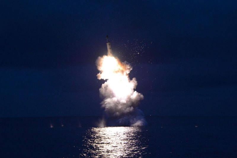 Photo shows the test-firing of a strategic submarine-launched ballistic missile