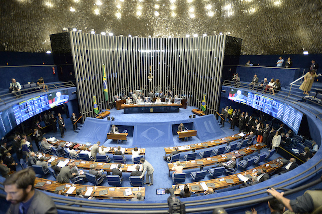 General view of the beginning of a session on the impeachment of suspended Brazilian President
