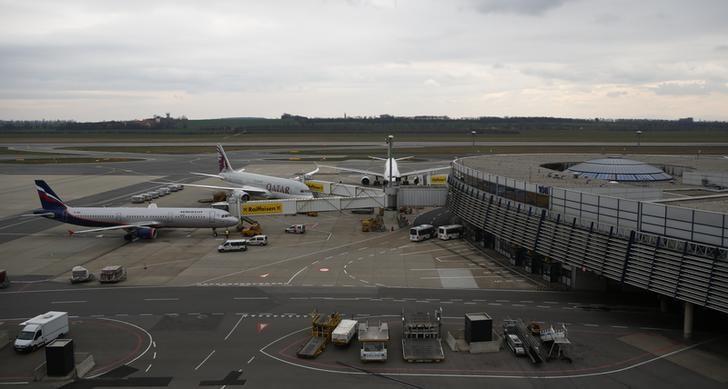 Planes are waiting next to Vienna's International Airport in Schwechat, Austria