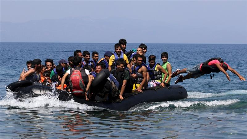 Migrants come by sea crossing the Mediterranean to Europe