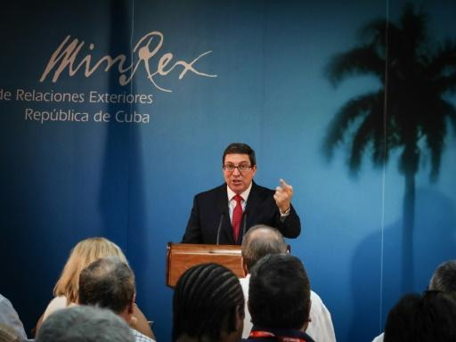 Foreign Minister of Cuba Mr. Bruno Rodriguez speaking at a press conference