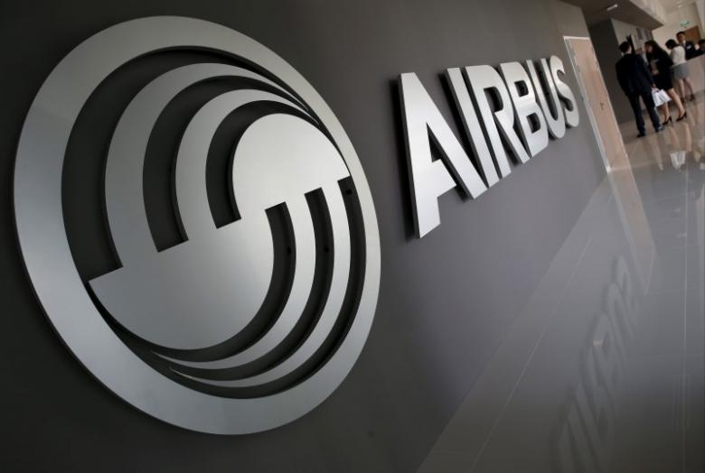 An Airbus signage is pictured at the new Airbus Asia Training Centre in Singapore