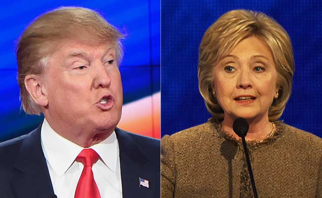 Democratic presidential candidate Hillary Clinton (R) and her Republican counterpart Donald Trump (L)