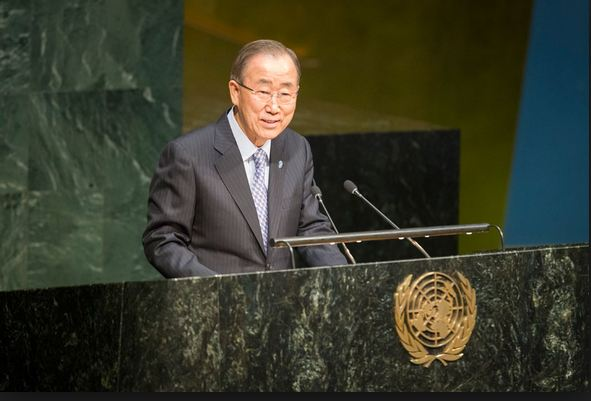 UN Secretary-General Ban Ki-moon addressing UN General Assembly