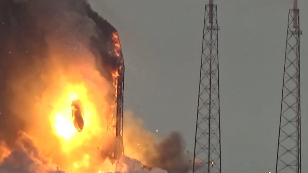 The moment SpaceX rocket exploded on launchpad