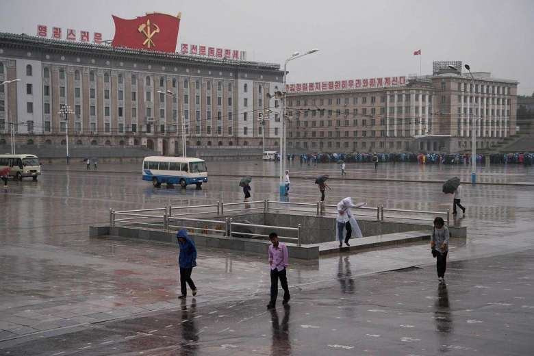 A general view shows Kim Il-Sung square during rainfall in Pyongyang on July 16, 2016