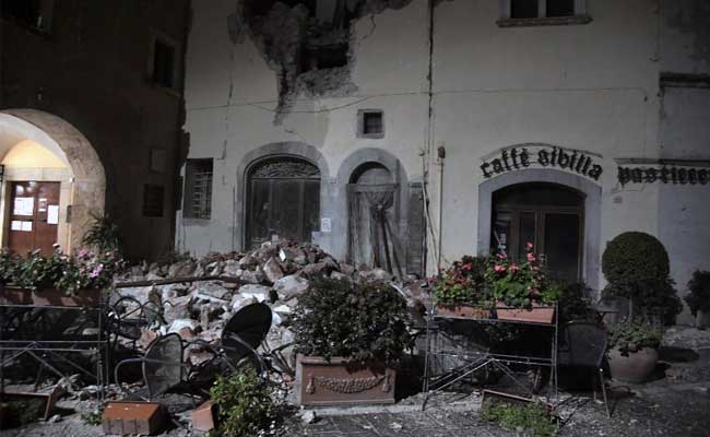 A picture shows destructions in the village of Visso, central Italy, following earthquakes on October 26