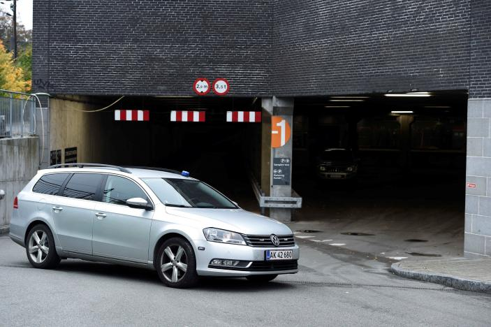 Police block the entrance to RO's Torv, a shopping centre in downtown Roskilde, Denmark