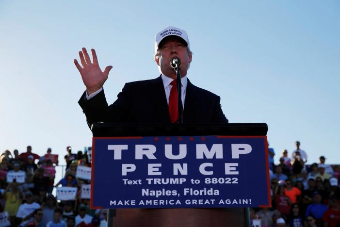 Republican U.S. presidential nominee Donald Trump holds a campaign rally in Naples, Florida, U.S. October 23, 2016. REUTERS/Jonathan Ernst