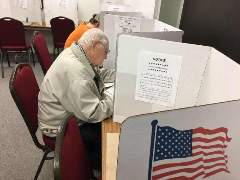 Keith Johnson, 85, votes on November 1, 2016 in Eau Claire, Wisconsin
