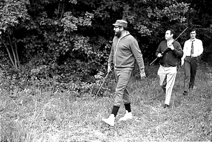 Fidel Castro (L) is seen during a hunting trip in Romania in 1972