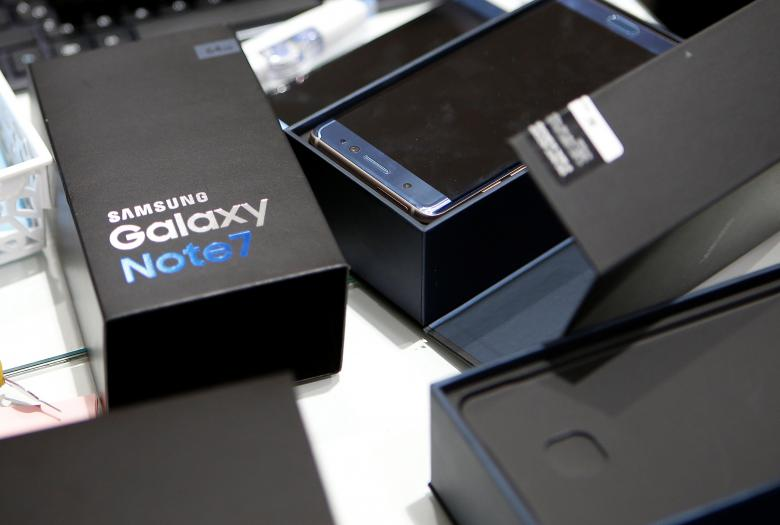 An exchanged Samsung Electronics' Galaxy Note 7 is seen at company's headquarters in Seoul, South Korea