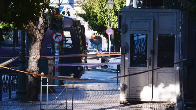 Security booth at the entrance to the French embassy in central Athens, after two motorcyclists threw a hand granade and injured the guard on Thursday