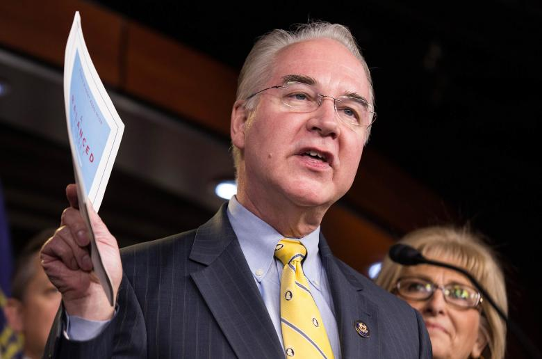 Chairman of the House Budget Committee Tom Price (R-GA) announces the House Budget during a press conference on Capitol Hill in Washington