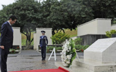 A few days after his resignation, Abe visited the war cemetery