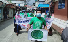 Street protests demanding climate protection on Barisal Kuakata Highway