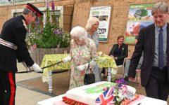 Queen Elizabeth uses enormous ceremonial sword to cut royal birthday cake